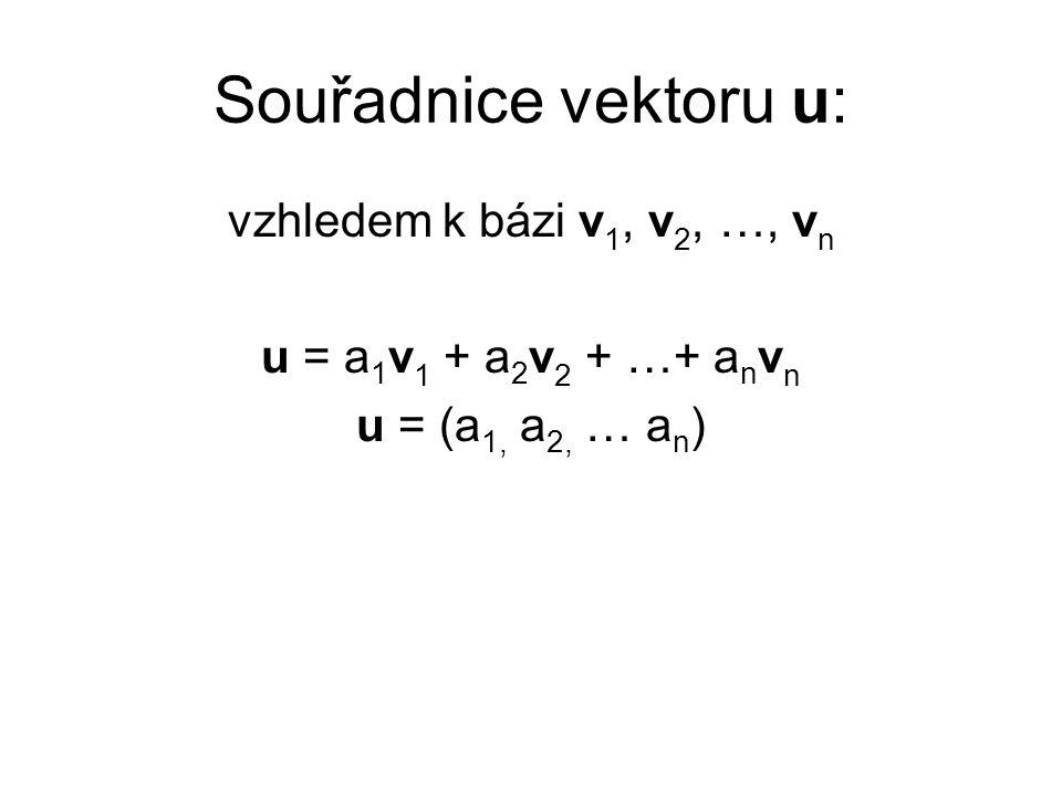 Souřadnice vektoru u: vzhledem k bázi v1, v2, …, vn