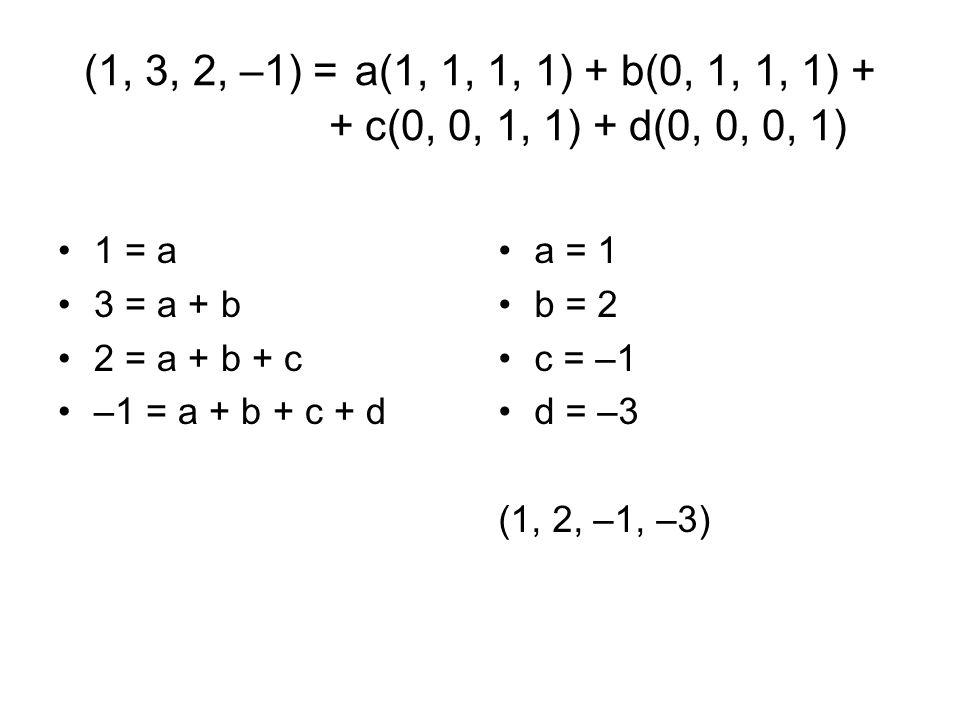 (1, 3, 2, –1) = a(1, 1, 1, 1) + b(0, 1, 1, 1) + + c(0, 0, 1, 1) + d(0, 0, 0, 1)