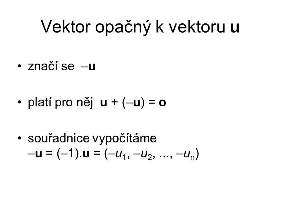 Vektor opačný k vektoru u