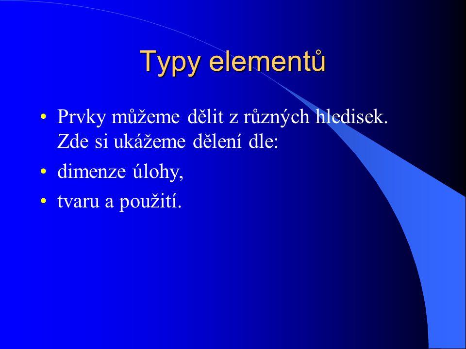 Typy elementů Prvky můžeme dělit z různých hledisek.