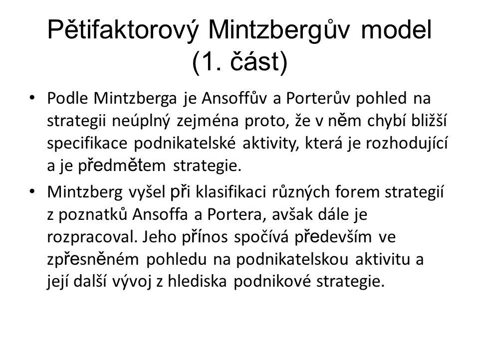 Pětifaktorový Mintzbergův model (1. část)