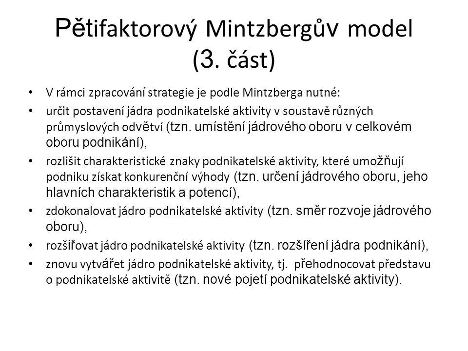 Pětifaktorový Mintzbergův model (3. část)
