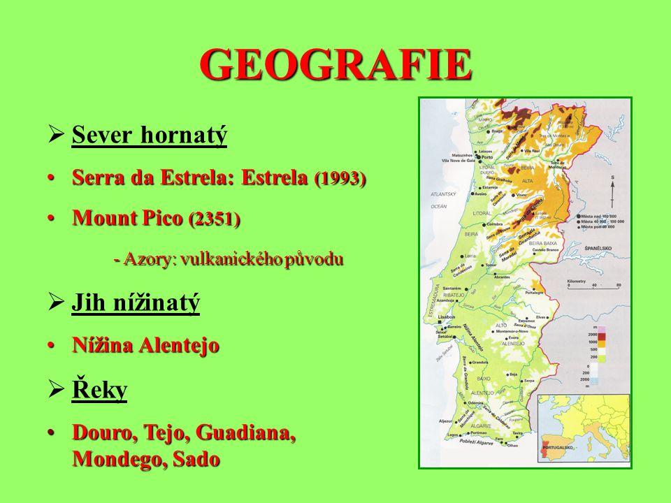 GEOGRAFIE Sever hornatý Jih nížinatý Řeky