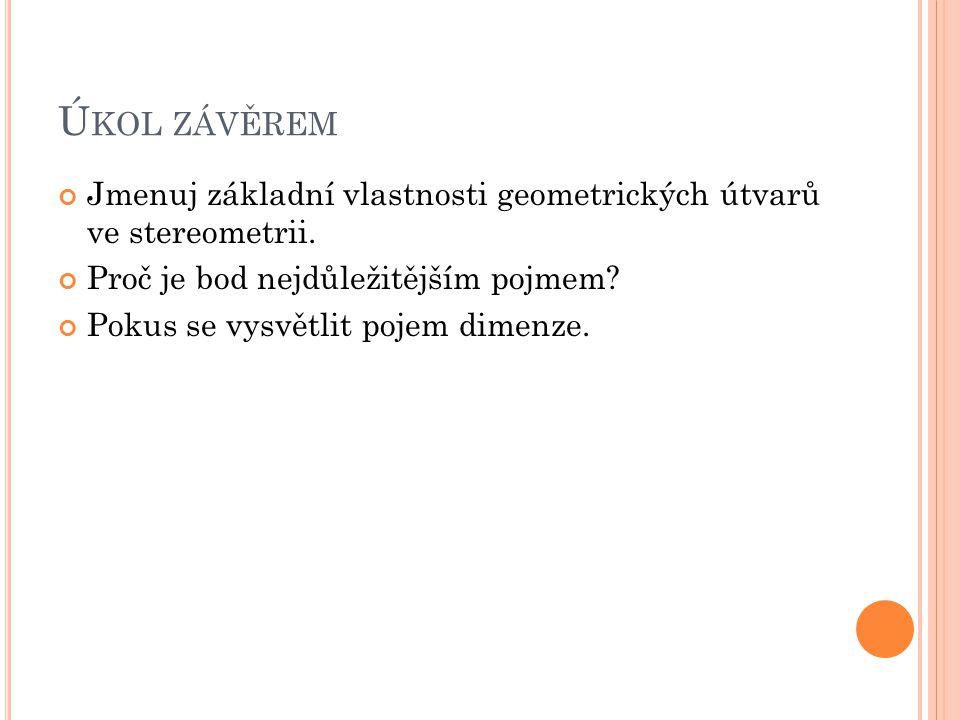 Úkol závěrem Jmenuj základní vlastnosti geometrických útvarů ve stereometrii. Proč je bod nejdůležitějším pojmem