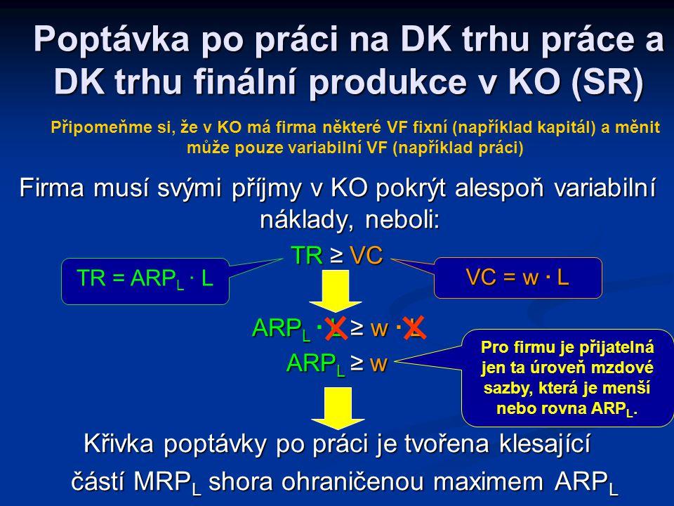 Poptávka po práci na DK trhu práce a DK trhu finální produkce v KO (SR)