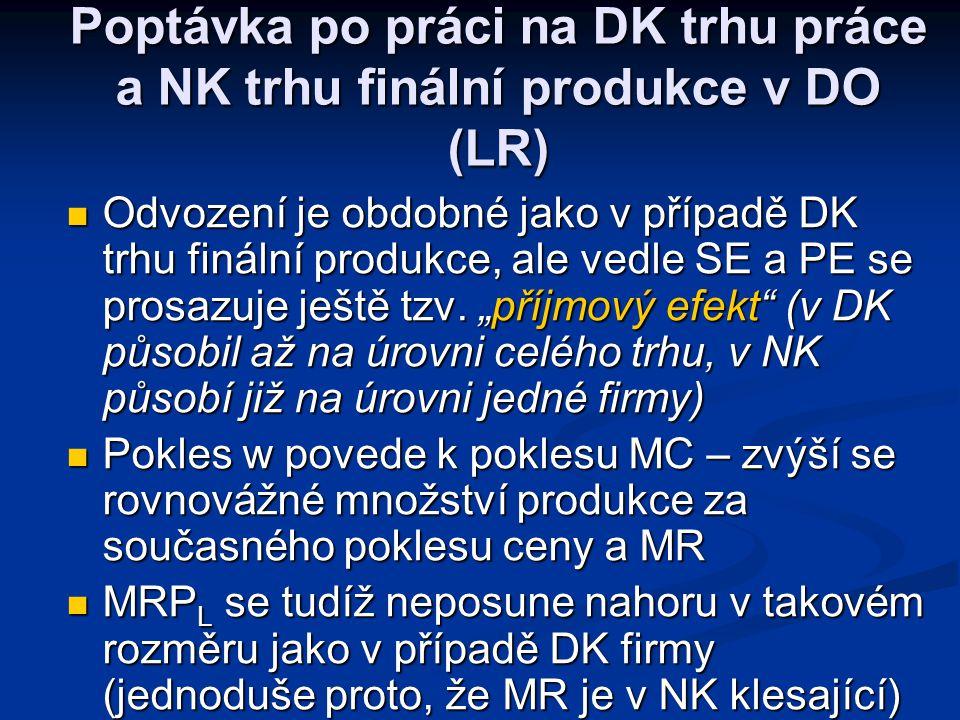 Poptávka po práci na DK trhu práce a NK trhu finální produkce v DO (LR)
