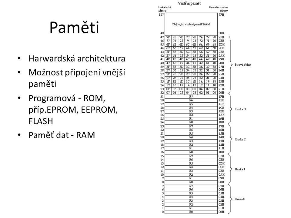 Paměti Harwardská architektura Možnost připojení vnější paměti