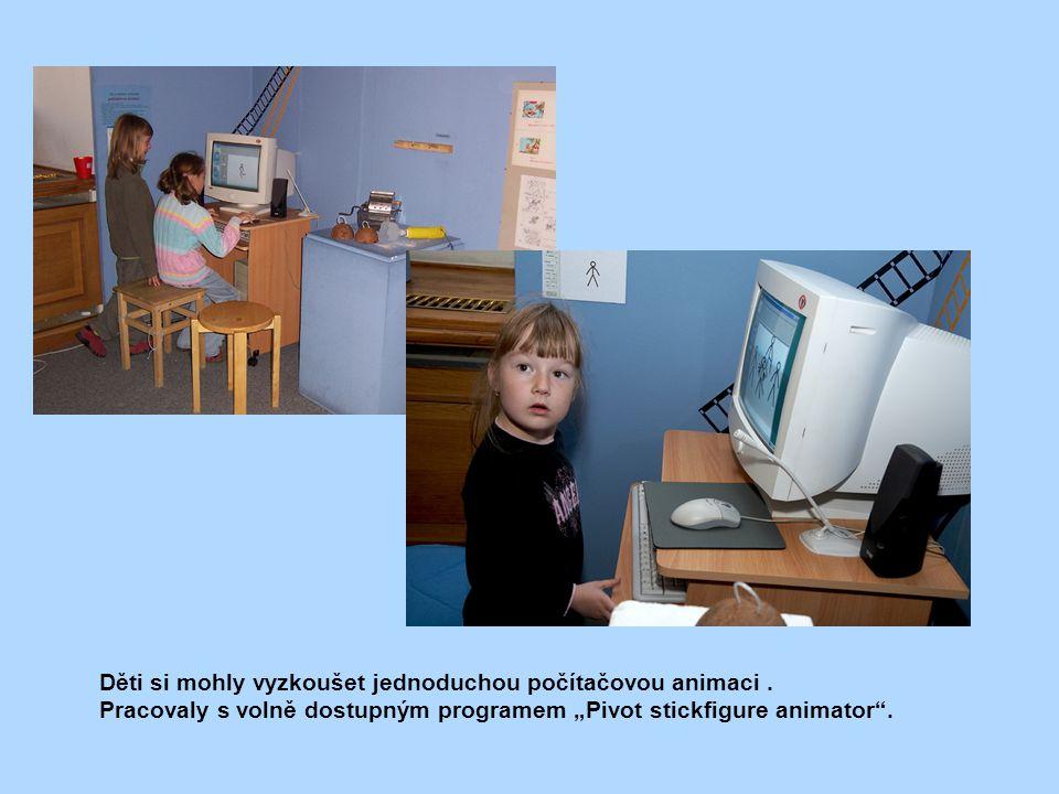 Děti si mohly vyzkoušet jednoduchou počítačovou animaci .