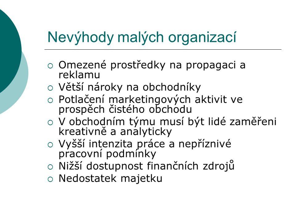 Nevýhody malých organizací