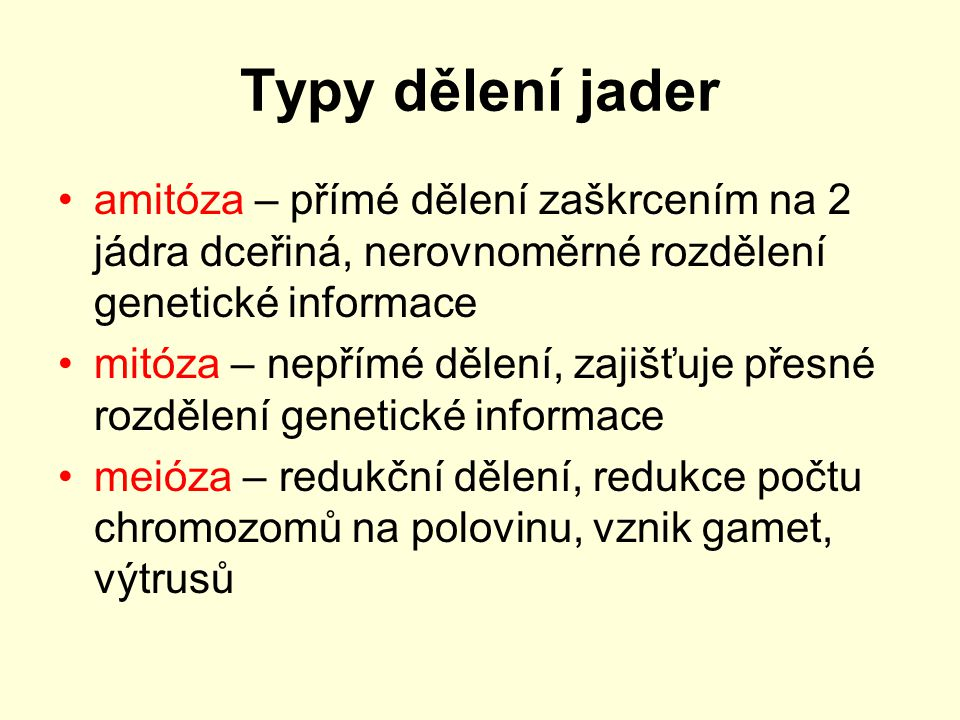 Typy dělení jader amitóza – přímé dělení zaškrcením na 2 jádra dceřiná, nerovnoměrné rozdělení genetické informace.