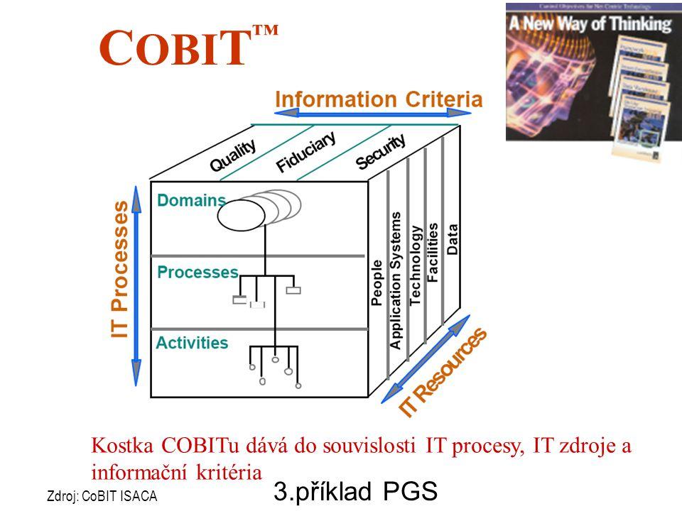COBIT™ Kostka COBITu dává do souvislosti IT procesy, IT zdroje a informační kritéria. 3.příklad PGS.