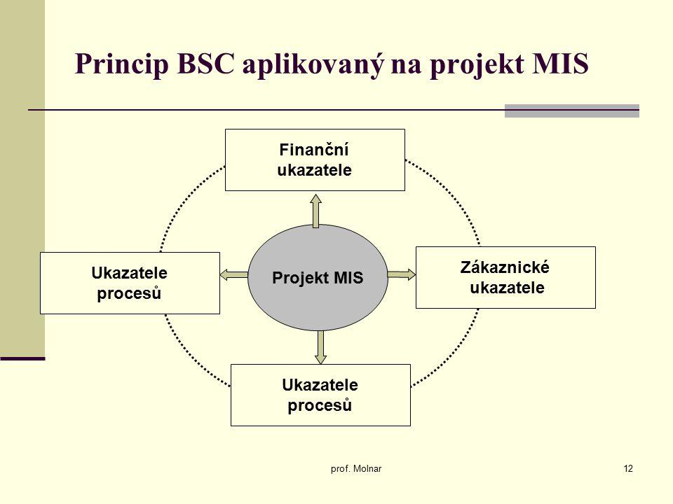 Princip BSC aplikovaný na projekt MIS