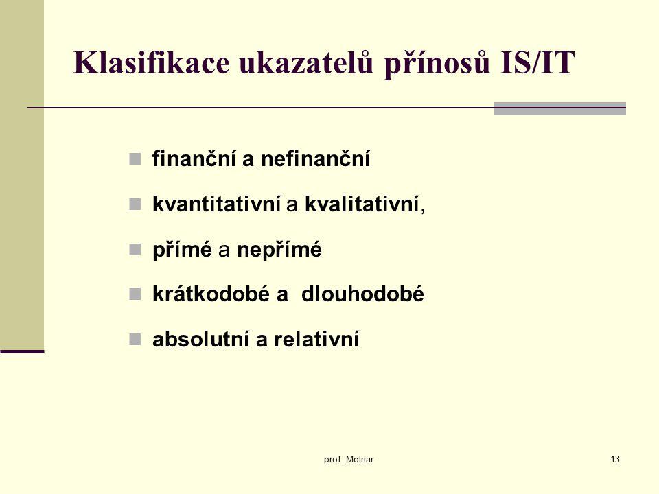 Klasifikace ukazatelů přínosů IS/IT