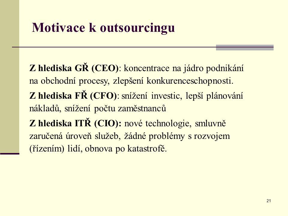Motivace k outsourcingu