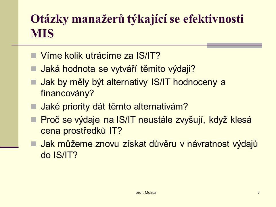 Otázky manažerů týkající se efektivnosti MIS