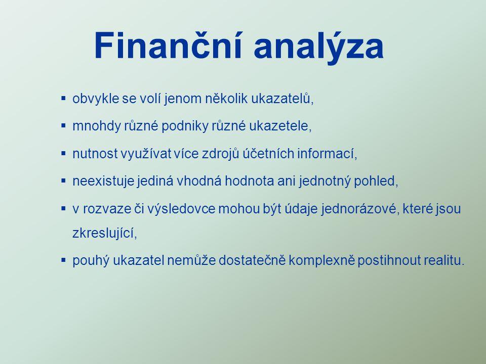 Finanční analýza obvykle se volí jenom několik ukazatelů,