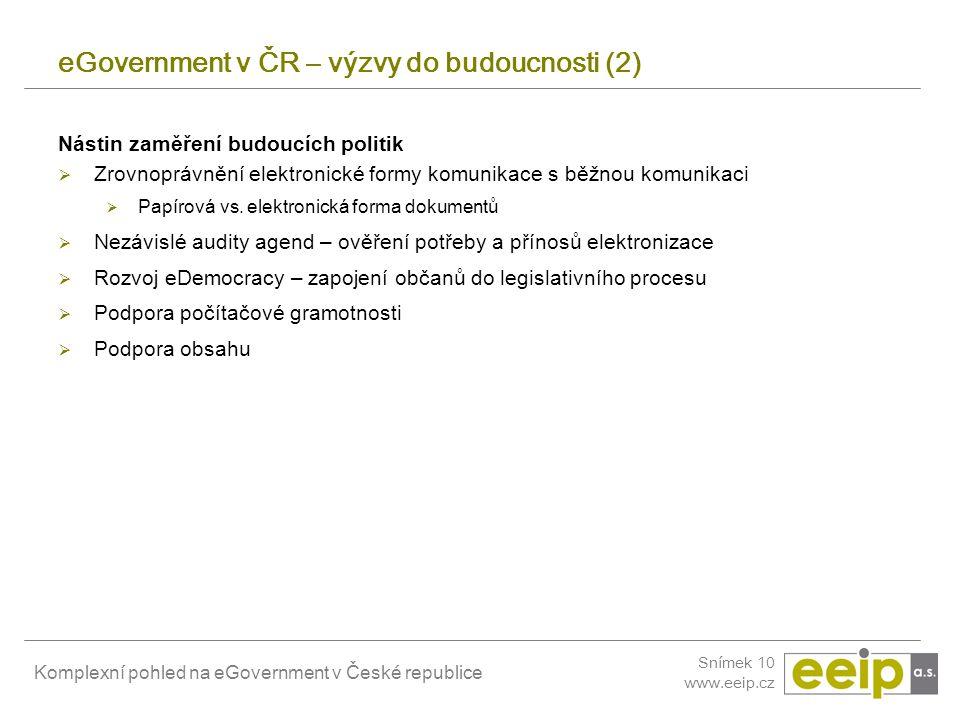 eGovernment v ČR – výzvy do budoucnosti (2)