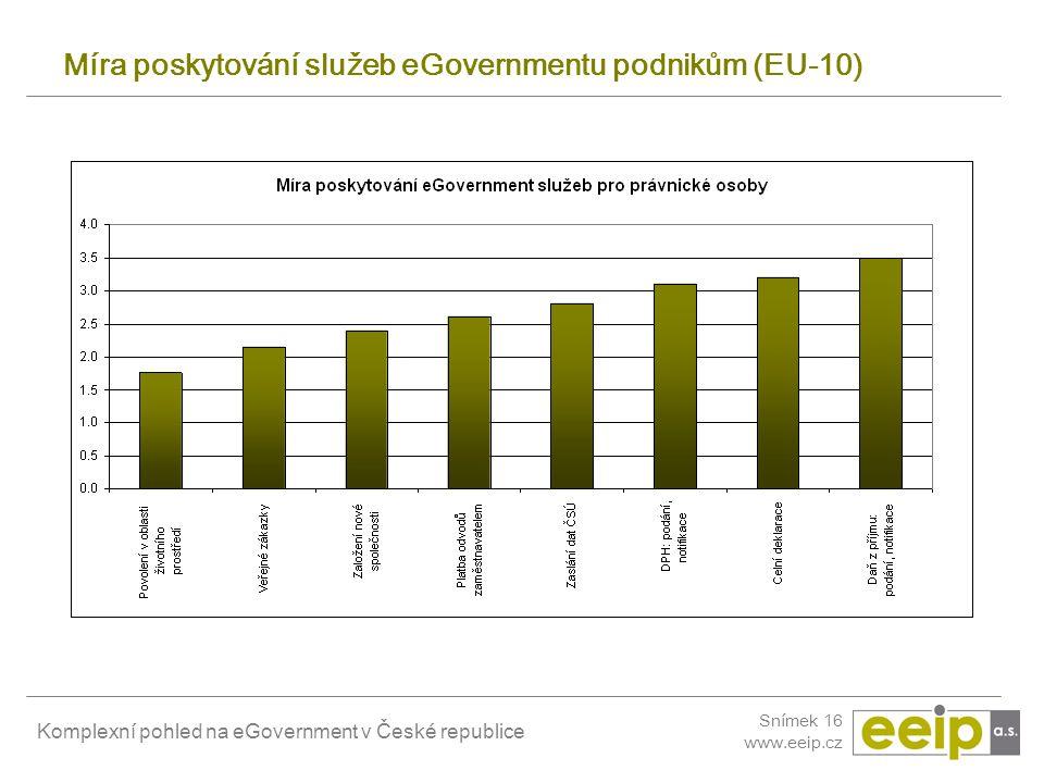 Míra poskytování služeb eGovernmentu podnikům (EU-10)