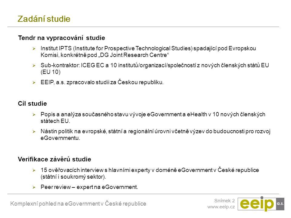 Zadání studie Tendr na vypracování studie Cíl studie