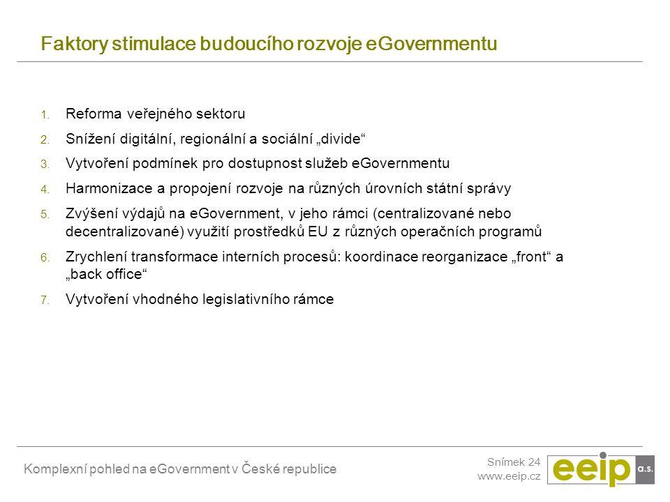 Faktory stimulace budoucího rozvoje eGovernmentu