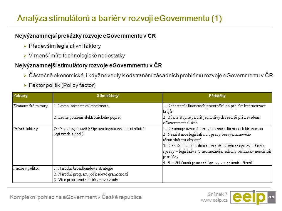 Analýza stimulátorů a bariér v rozvoji eGovernmentu (1)