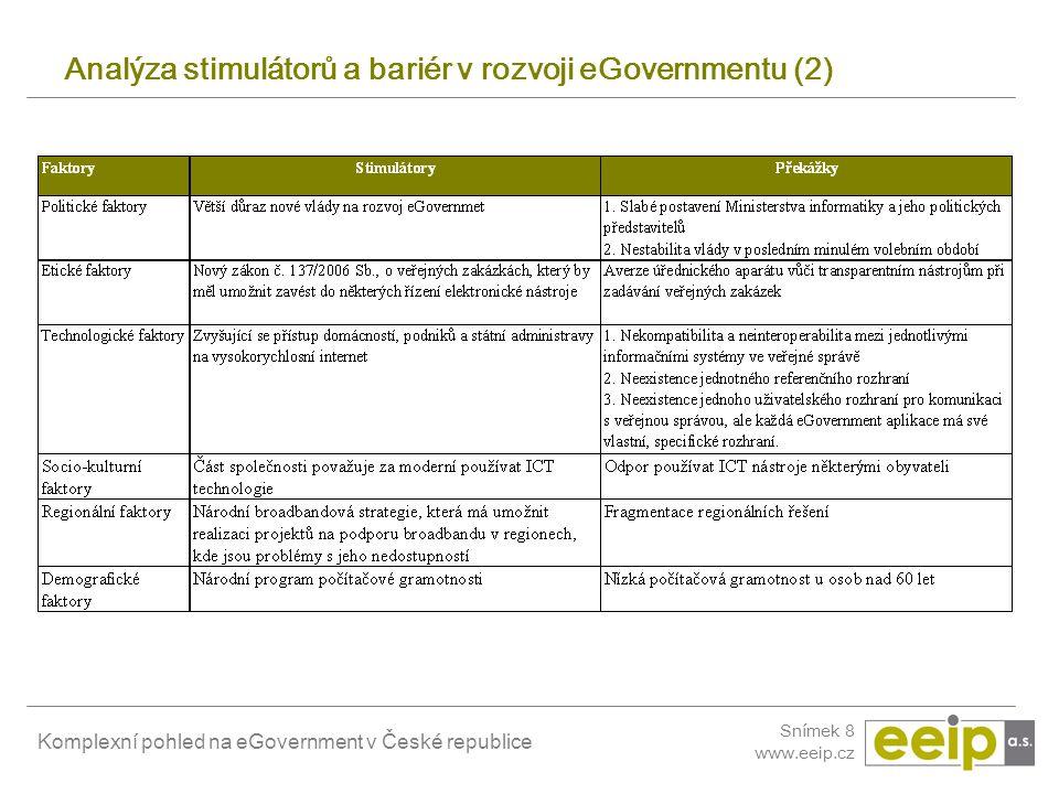 Analýza stimulátorů a bariér v rozvoji eGovernmentu (2)