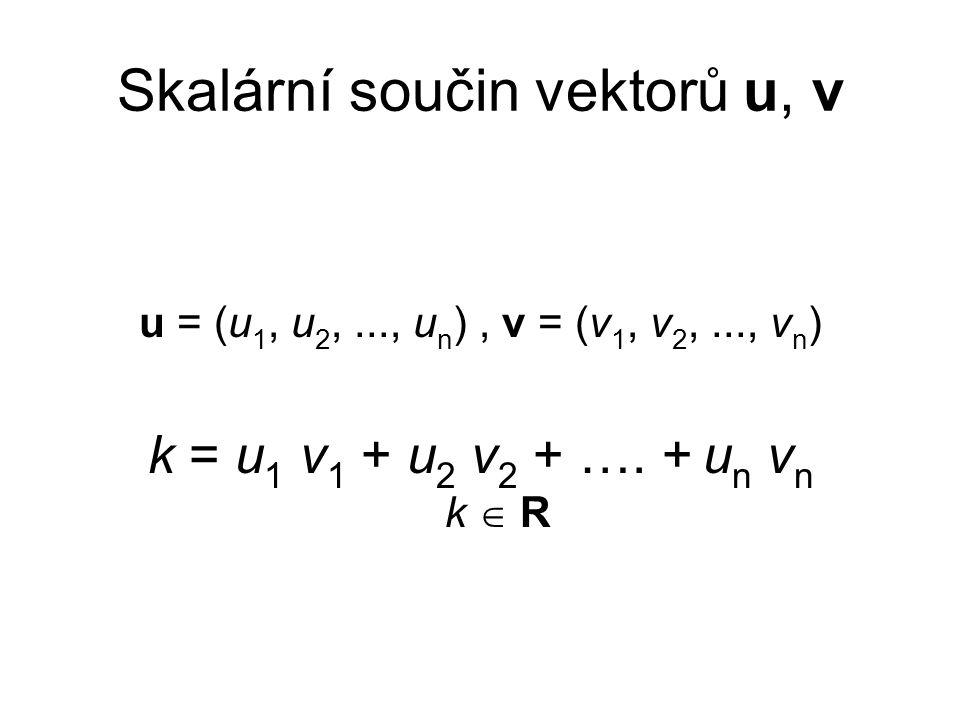 Skalární součin vektorů u, v