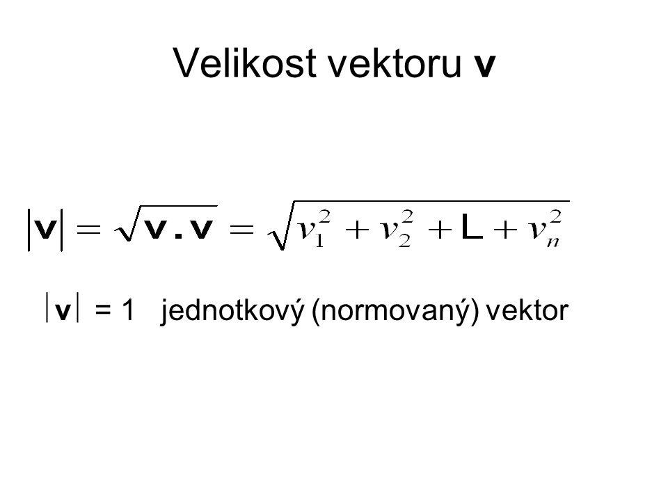 Velikost vektoru v v = 1 jednotkový (normovaný) vektor