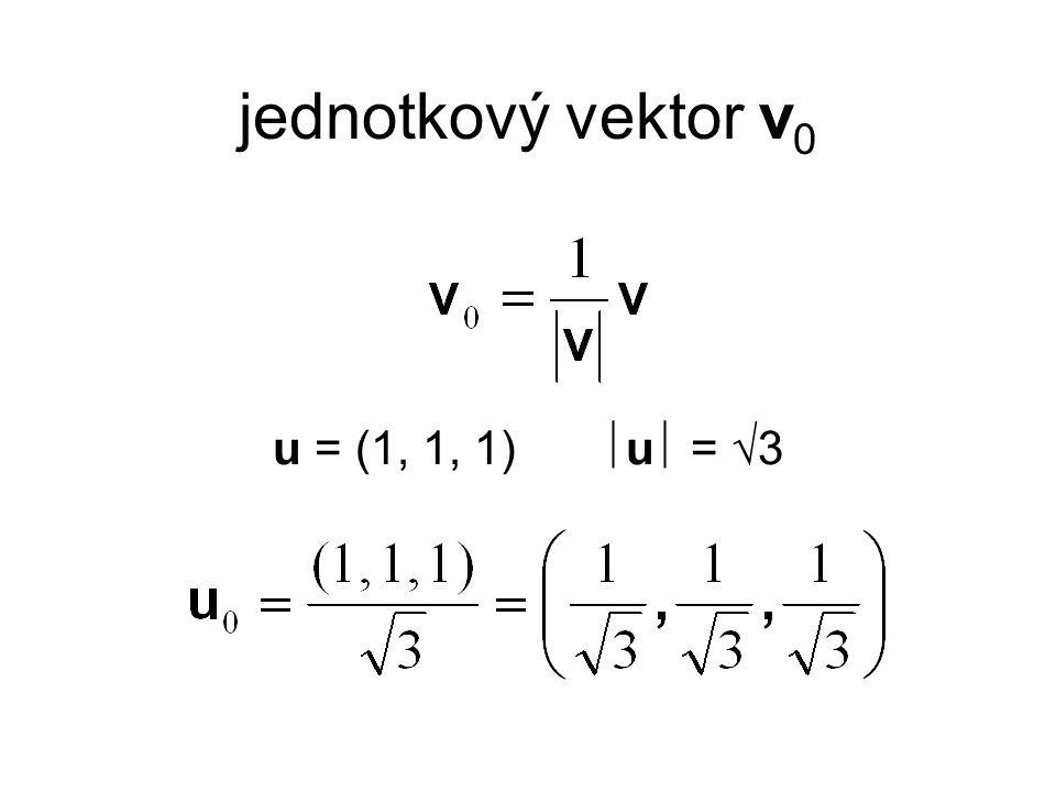 jednotkový vektor v0 u = (1, 1, 1) u = 3