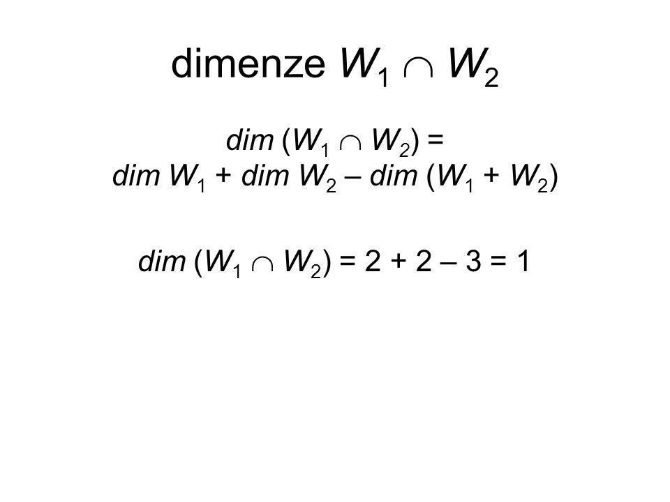 dim (W1  W2) = dim W1 + dim W2 – dim (W1 + W2)