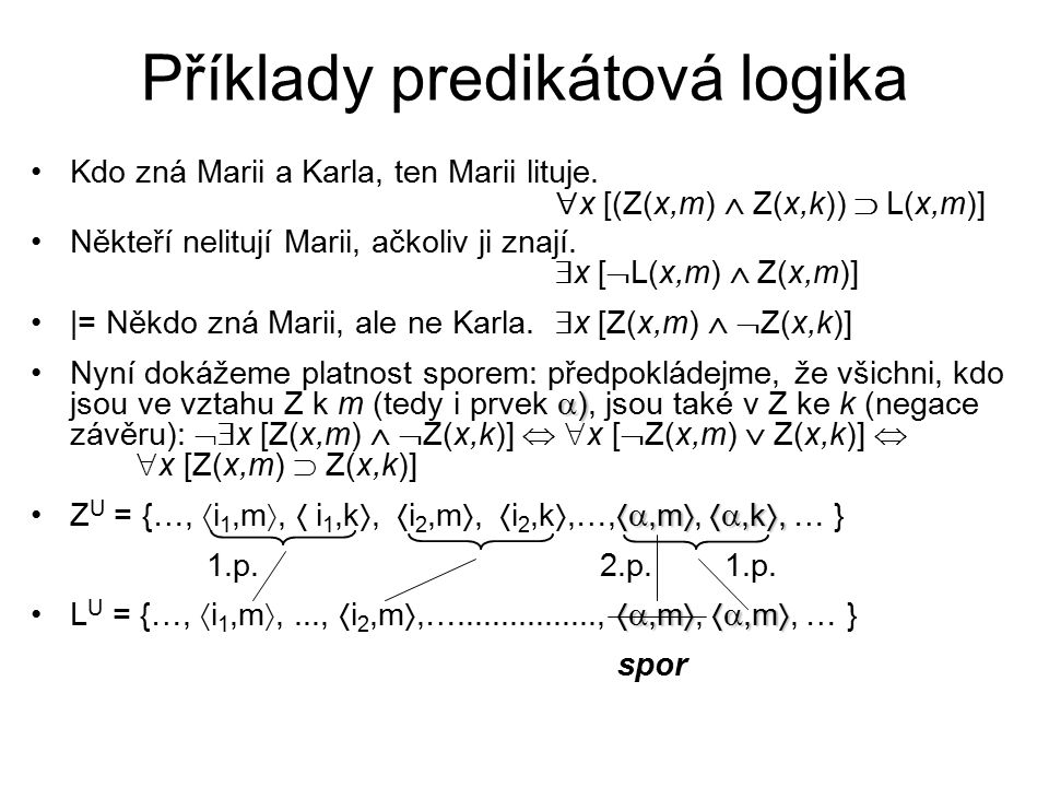 Příklady predikátová logika
