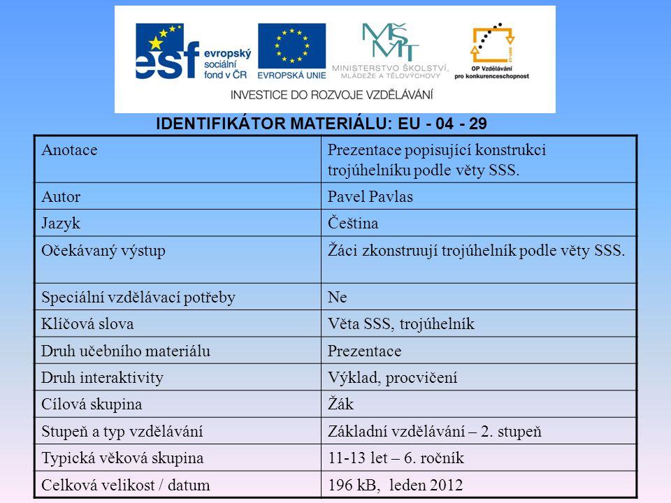 IDENTIFIKÁTOR MATERIÁLU: EU - 04 - 29