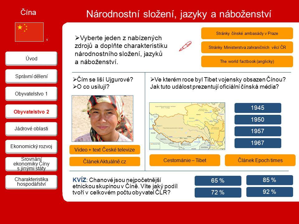 Národnostní složení, jazyky a náboženství Čína