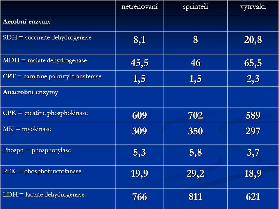 netrénovaní sprinteři. vytrvalci. Aerobní enzymy. SDH = succinate dehydrogenase. 8,1. 8. 20,8.