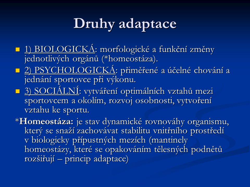 Druhy adaptace 1) BIOLOGICKÁ: morfologické a funkční změny jednotlivých orgánů (*homeostáza).