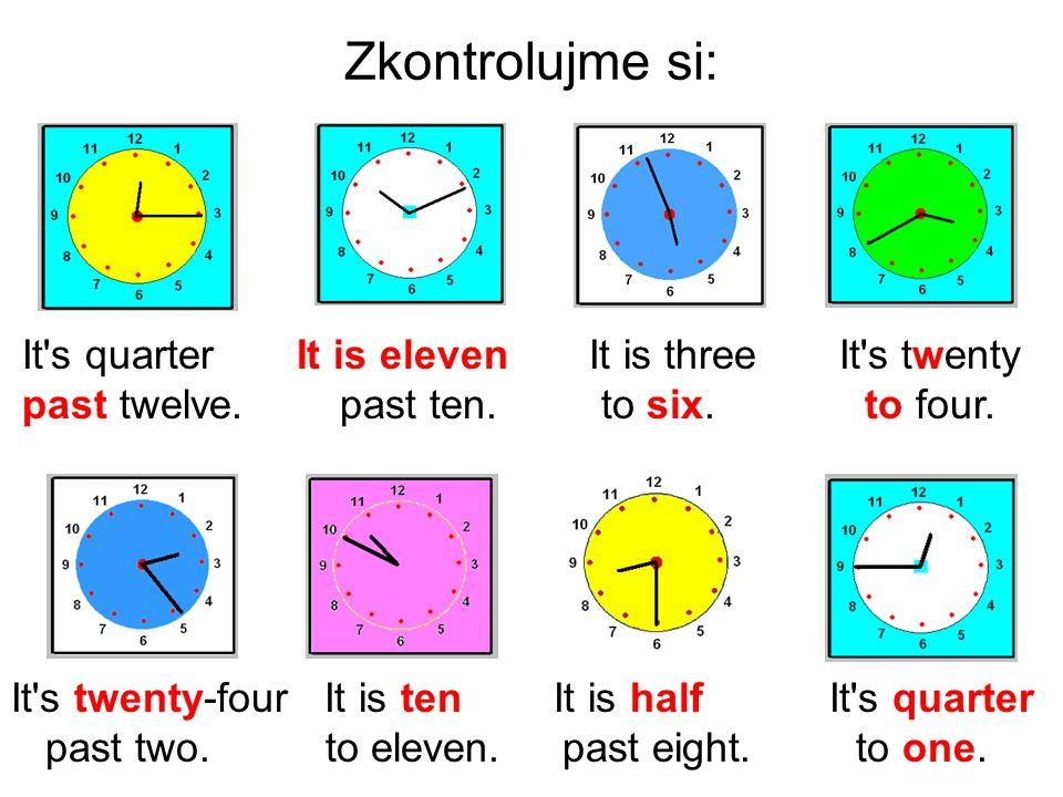 Zkontrolujme si: It s quarter It is eleven It is three It s twenty