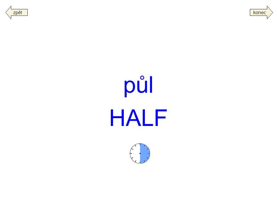 zpět konec půl HALF