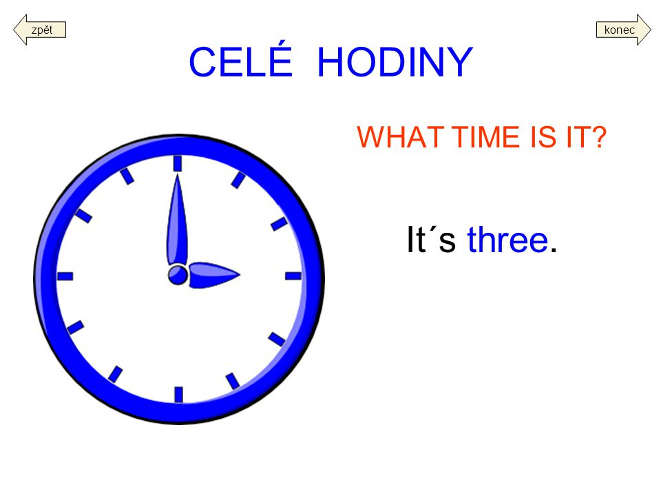 zpět konec CELÉ HODINY WHAT TIME IS IT It´s three.