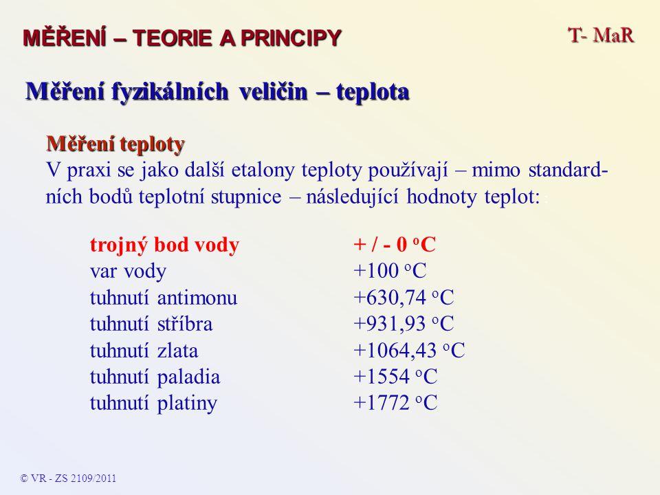 Měření fyzikálních veličin – teplota