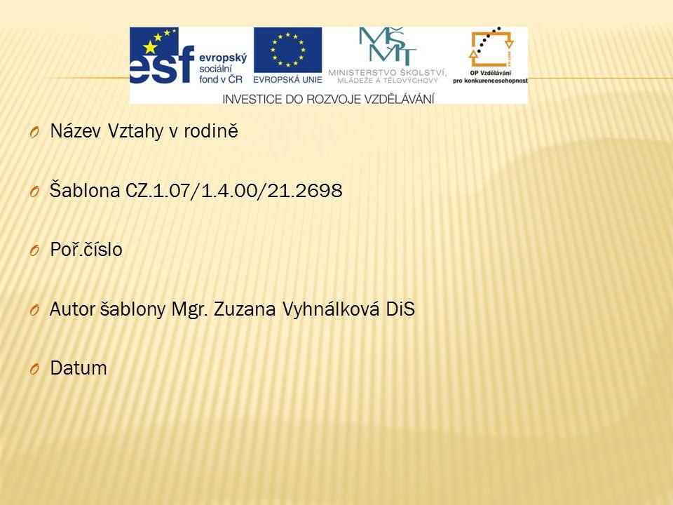 Název Vztahy v rodině Šablona CZ.1.07/1.4.00/21.2698. Poř.číslo. Autor šablony Mgr. Zuzana Vyhnálková DiS.