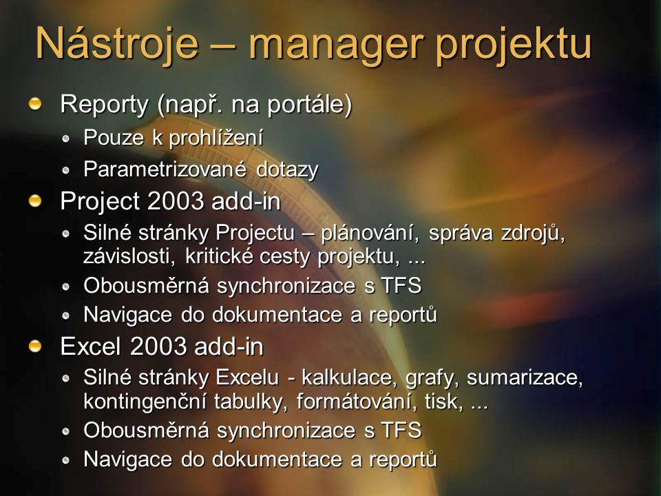 Nástroje – manager projektu