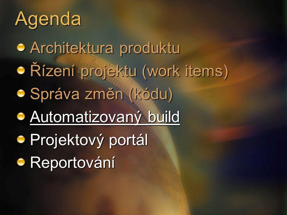 Agenda Architektura produktu Řízení projektu (work items)
