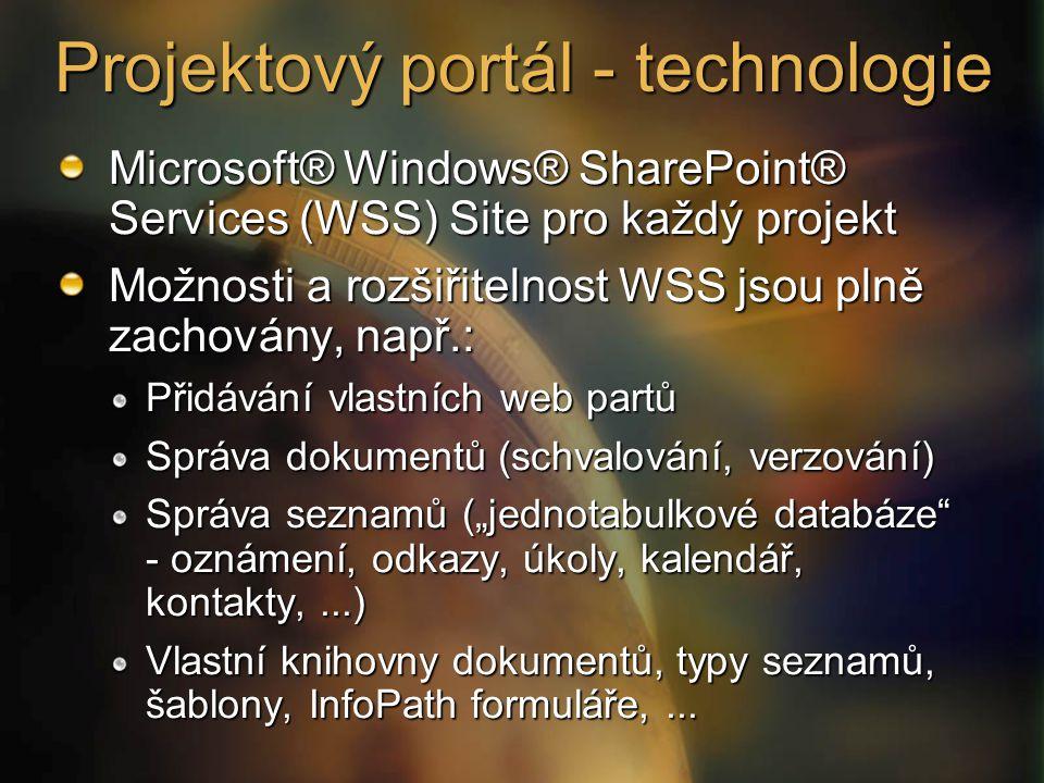 Projektový portál - technologie