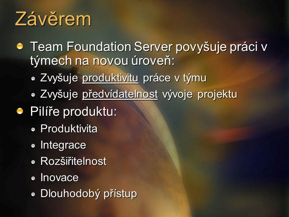 Závěrem Team Foundation Server povyšuje práci v týmech na novou úroveň: Zvyšuje produktivitu práce v týmu.