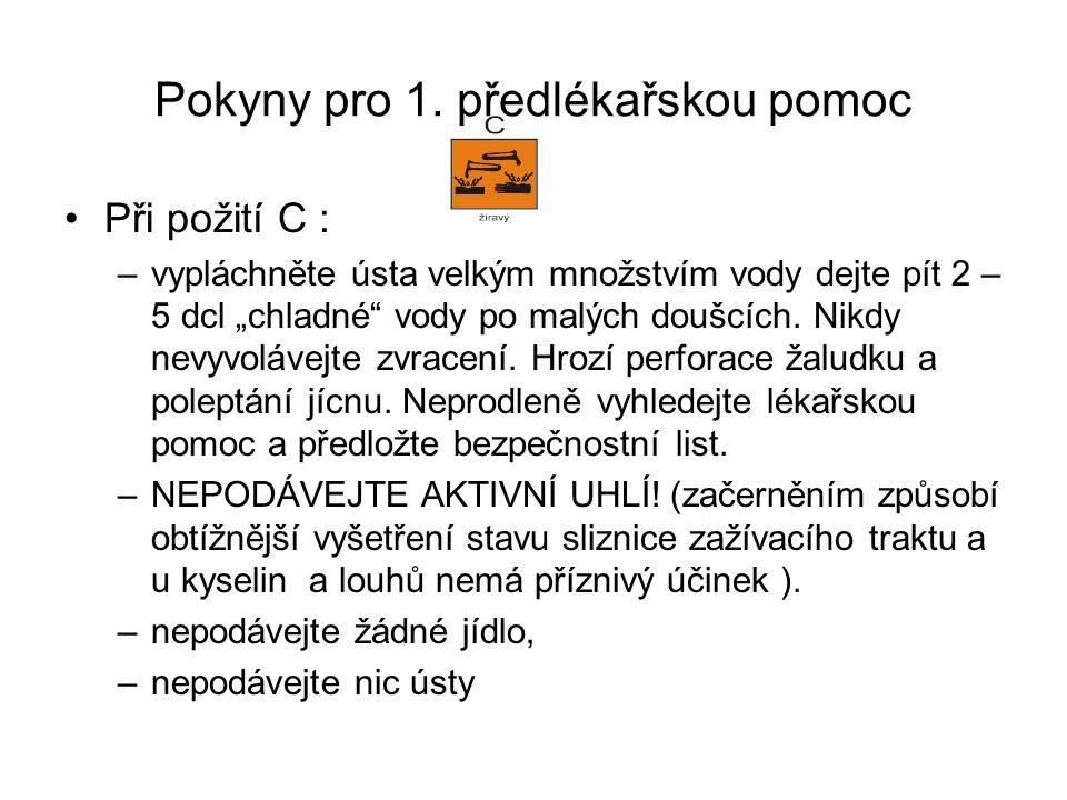 Pokyny pro 1. předlékařskou pomoc