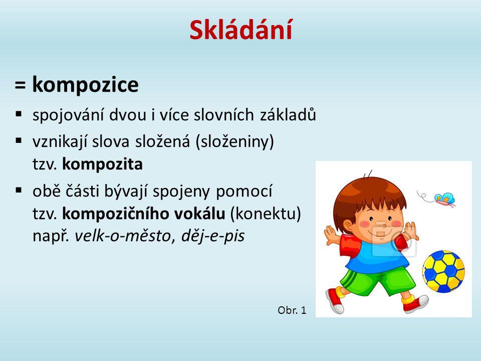 Skládání = kompozice spojování dvou i více slovních základů