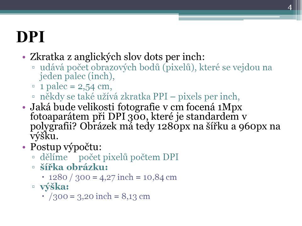 DPI Zkratka z anglických slov dots per inch: