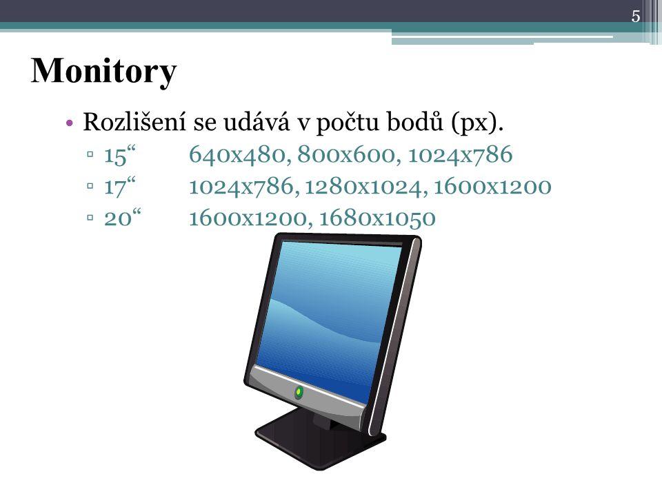 Monitory Rozlišení se udává v počtu bodů (px).