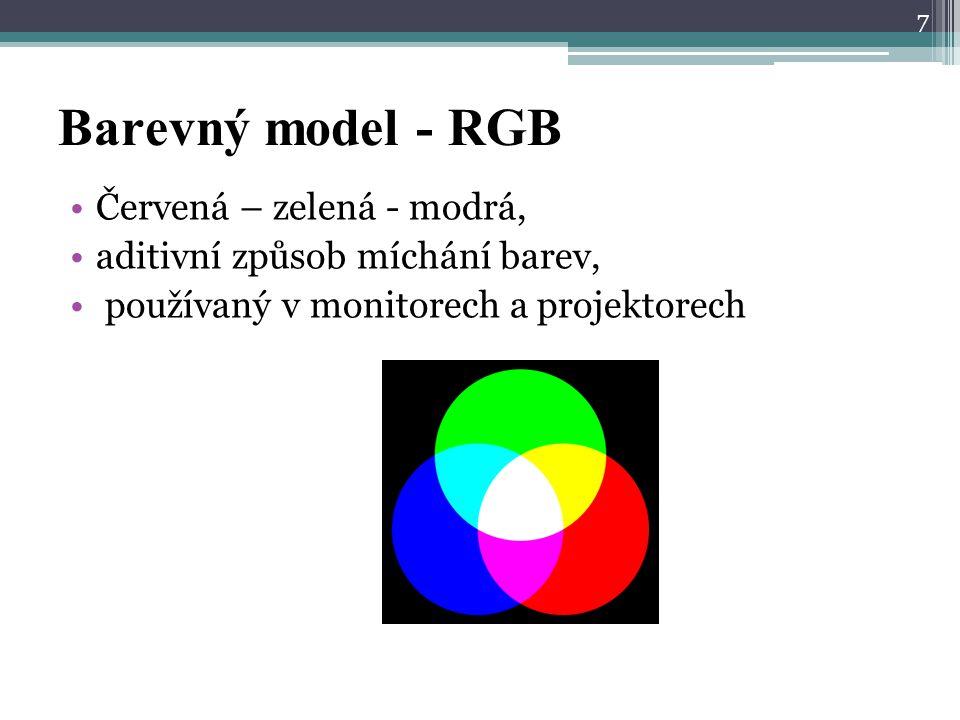Barevný model - RGB Červená – zelená - modrá,