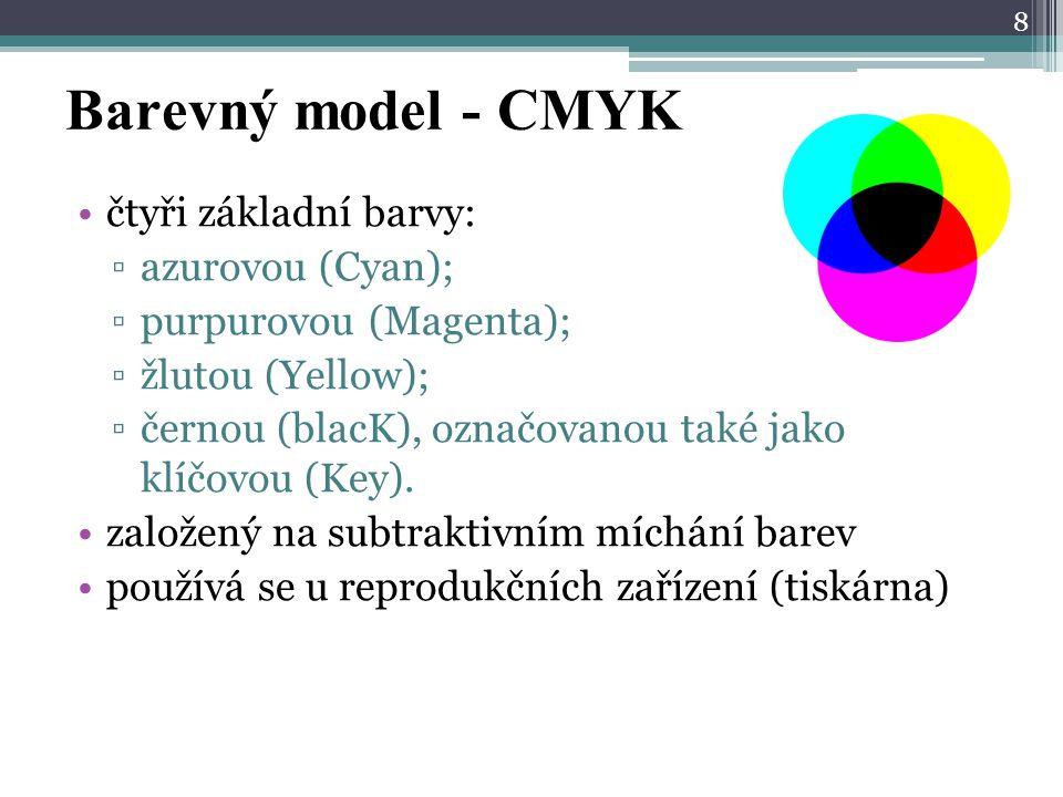 Barevný model - CMYK čtyři základní barvy: azurovou (Cyan);